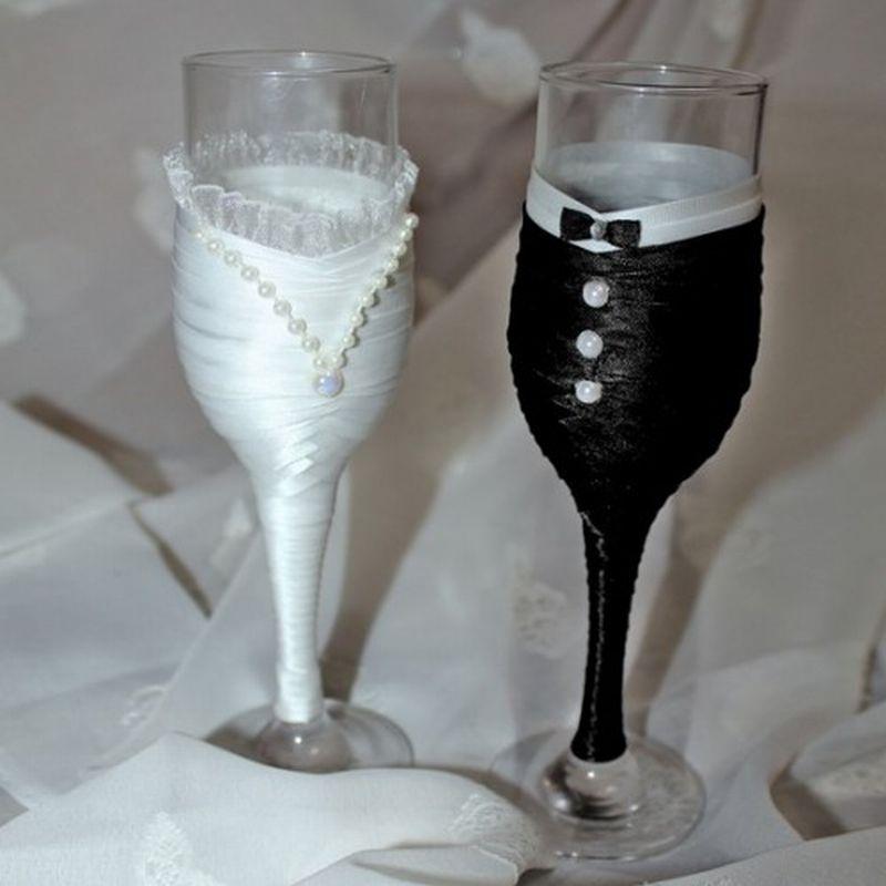 Украсить свадебные бокалы своими руками пошаговое фото